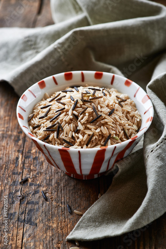 Brown and wild rice in a bowl