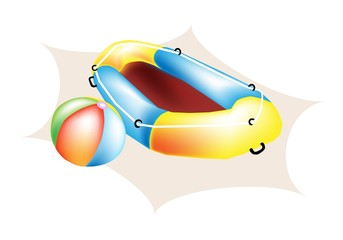 An Illustration of Beach Ball and Inflatable Boat