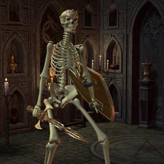 Skelett Krieger im Altarraum