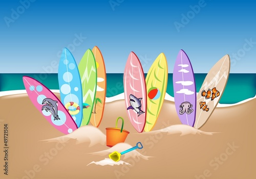 Illustration Set of Surfboards on A Beach