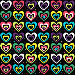 background with the coloured hearts