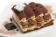tiramisù with chocolate and biscuits and sponge cake