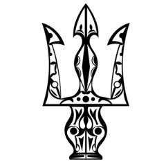 Black and white tattoo trident