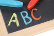 ABC in der Grundschule auf einer Tafel