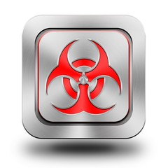 Biohazard aluminum glossy icon, button