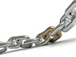 Steel chain with a golden link