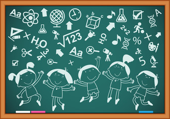 outlines of the figures children with icons on the blackboard