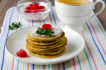 Pancakes with dried cherries