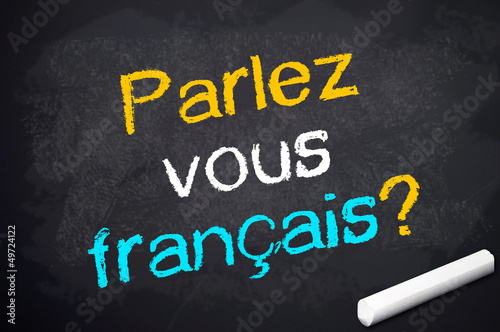 Kreidetafel mit parlez vous francais?