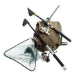 Accessories for angling - fishing rod and landing net. - 49724336
