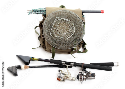 Accessories for angling - fishing rod and landing net.