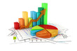 3d business graph and documents