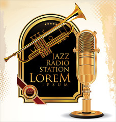 Jazz music label with old microphone