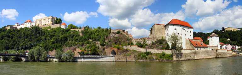 Castle of Passau over The Danube River in Bavaria, Germany.