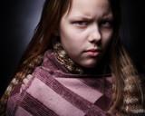 Portrait of a miserable little girl poster