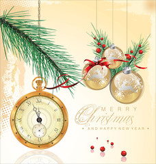Christmas background with old pocket watch detailed illustration
