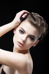 Attractiveness. Femininity. Amazing Brown Hair Girl. Pure Beauty