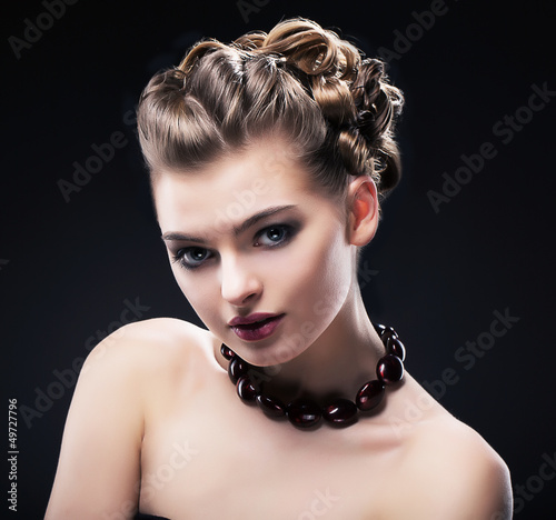 Luxury. Rich Noble Woman wearing Amber Necklace. Formal Party