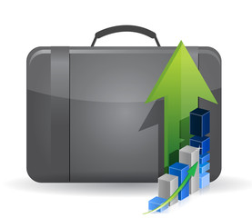 suitcase bag and business graph
