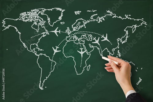 Global business on a chalkboard