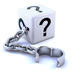 White dice question mark with chain