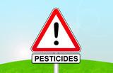 panneau attention pesticides poster
