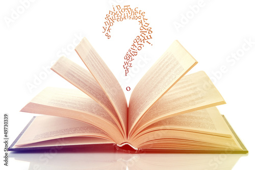 Opened book with letters flying out of it isolated on white