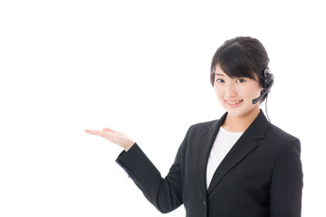 a young businesswoman with headset showing