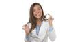 Dancing celebrating cheering medical doctor woman