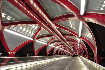 Calgary, peace bridge at night.