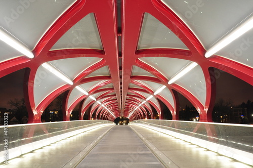 Calgary and peace bridge at night.