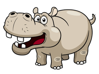 illustration of Cartoon Hippopotamus