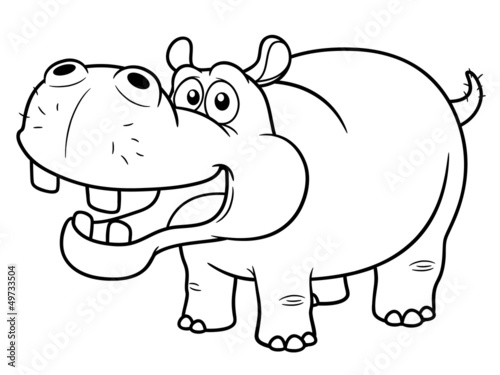 illustration of Cartoon Hippopotamus - Coloring book