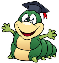 illustration of Cartoon worm professor