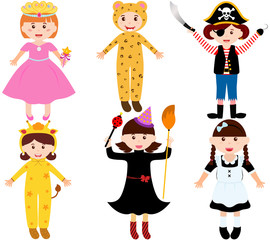 A set of cartoon female kids, young girls in cute costumes