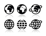 Fototapety Globe earth vector icons set with reflection