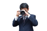Young asian photographer taking pictures with digital camera