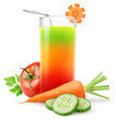 Vegetable juice isolated on white