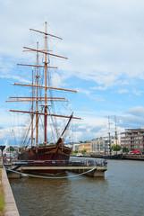 Vintage sail ship in Turku, Finland