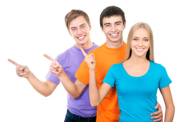 Students pointing on white background