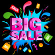 vector illustration of big sale with splash and shopping bag