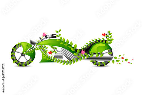 vector illustration ofeco friendly motor bike with floral swirl
