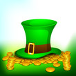 Golden coins and leprechaun hat on green background for Happy St
