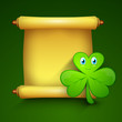 Shamrock leave with golden blank banner for your message, St. Pa
