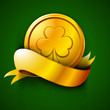Irish St. Patrick's Day green background with golden coin and ri