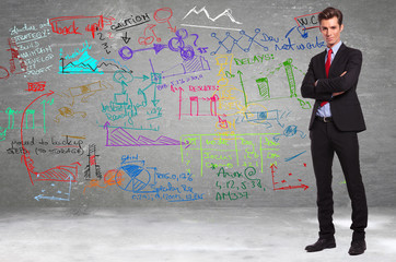 business standing in front of a wall full of calculations
