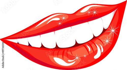 Beautiful smiling mouth with healthy teeth isolated on white