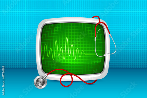 vector illustration of stethoscope with ECG monitor