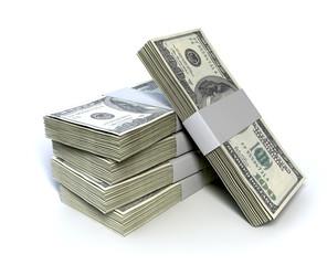 Dollar Bill Bundles Pile