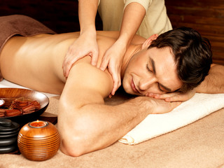 Man having massage in the spa salon